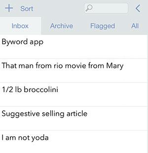 Drafts app list